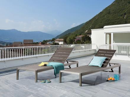Solstol grå - solsäng - trädgårdsmöbel - NARDO