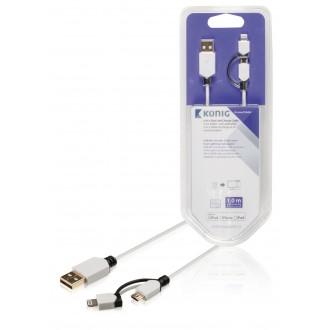 König Synk- och laddarkabel USB mikro B hane – A hane + 8-stifts Li