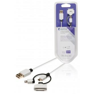 König Synk och laddarkabel USB mikro B hane – A hane + 8-stifts Li