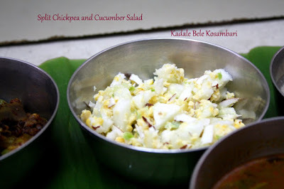 Chana Lentil and Cucumber Salad | Kadale Bele Kosambari ~ Udupi Recipe