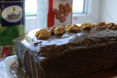 Banana and walnut loaf with salted caramel topping