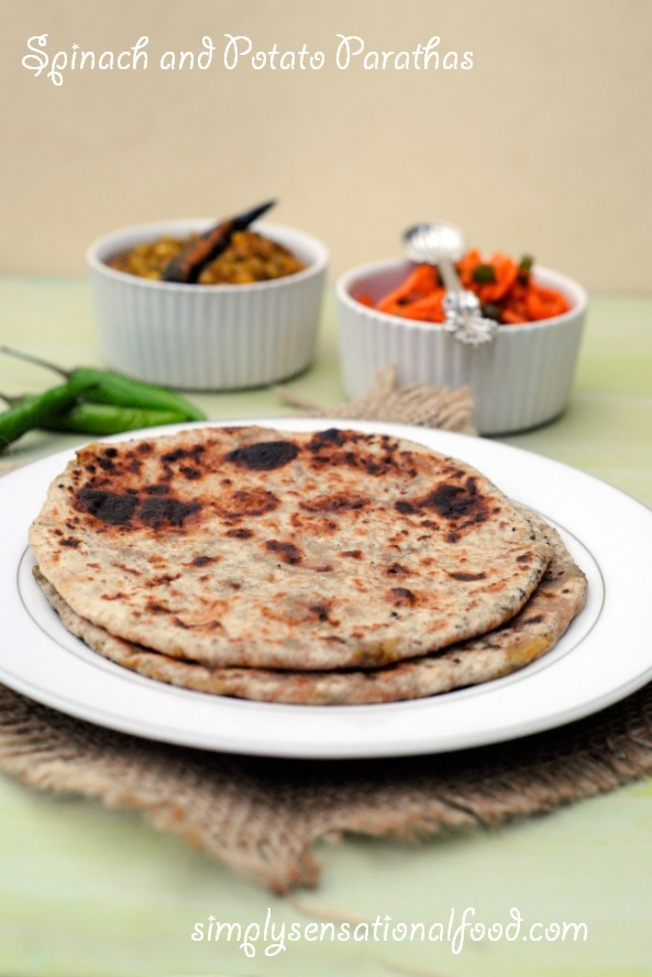 Spinach and Potato Parathas