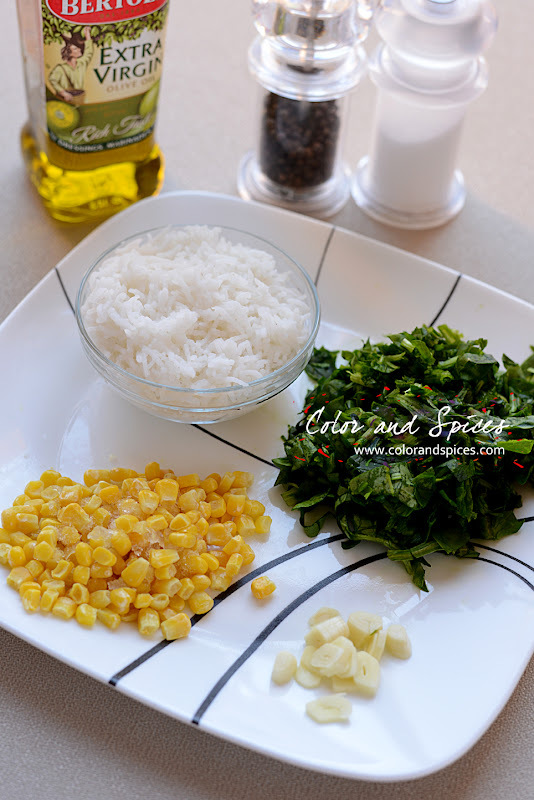 Spinach and Corn rice..