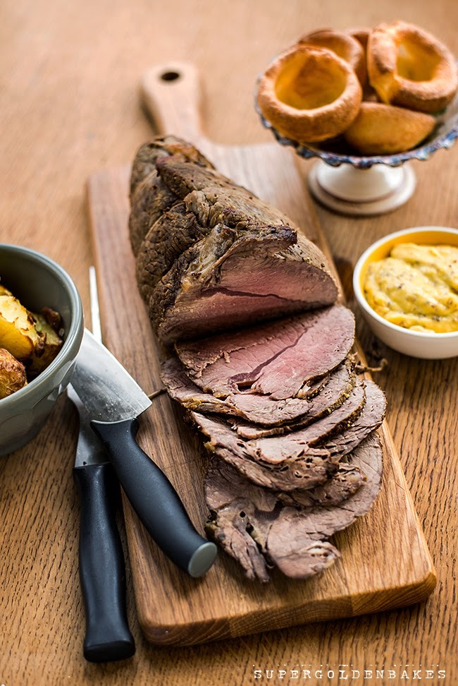 Beef roast with mustard aioli and balsamic potatoes