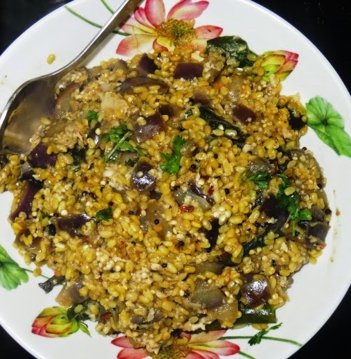 Moong -Brinjal Dry Curry