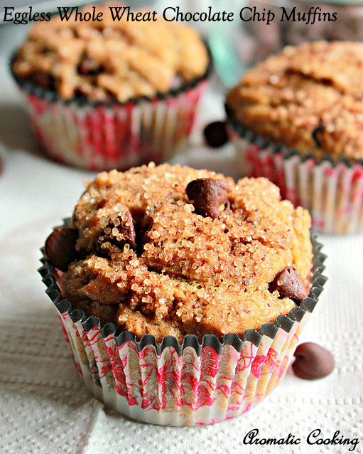 Eggless Whole Wheat Chocolate Chip Muffins