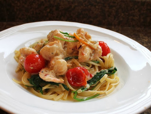 Meyer Lemon Butter Sauce Prawns with Linguine #SundaySupper