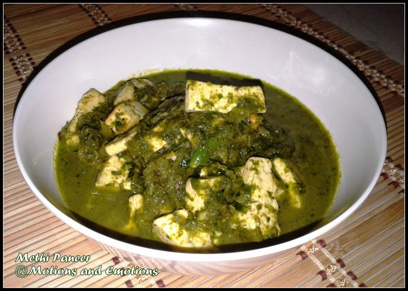 Methi Paneer / Cottage Cheese in Fenugreek Flavour