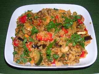 Rocket and Roses Harissa Infused Veggies, Tofu, Lentils & Bulgar Wheat