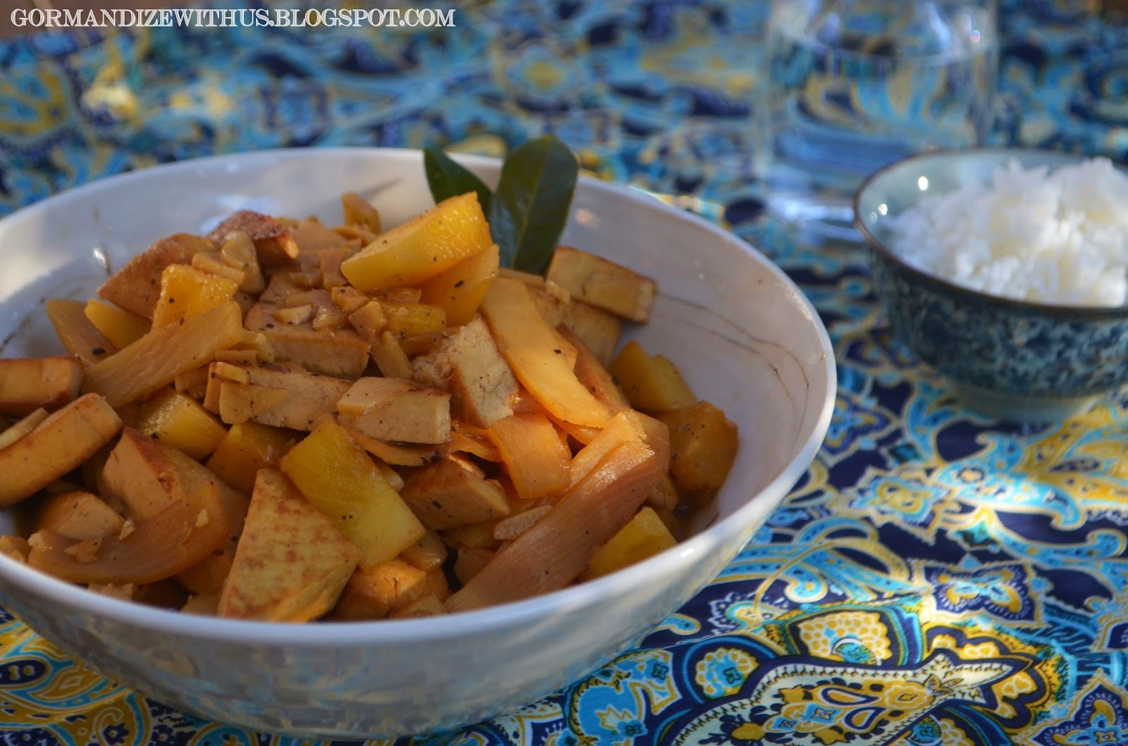 Filipino Adobo Tofu with Pineapple and Bamboo Shoots