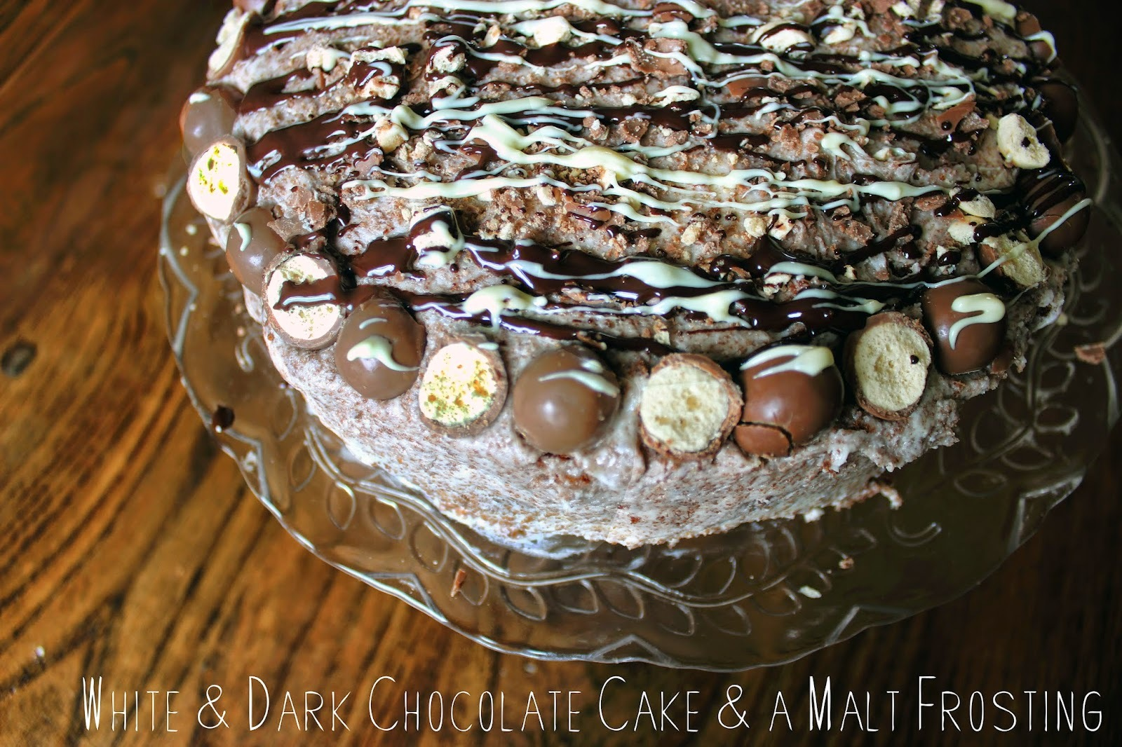 White & Dark Chocolate Malteser Cake