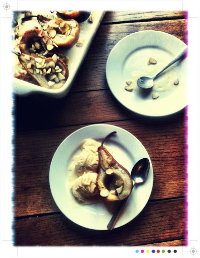 Roasted Pears with Almonds and Homemade Vanilla Ice Cream