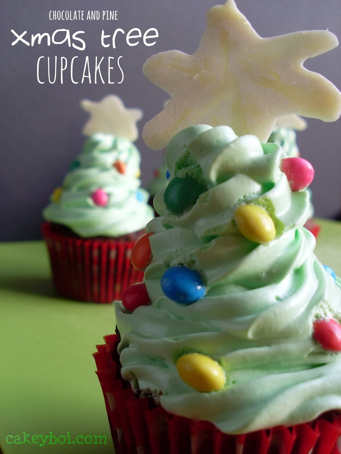 Chocolate (and Pine) Xmas Tree Cupcakes