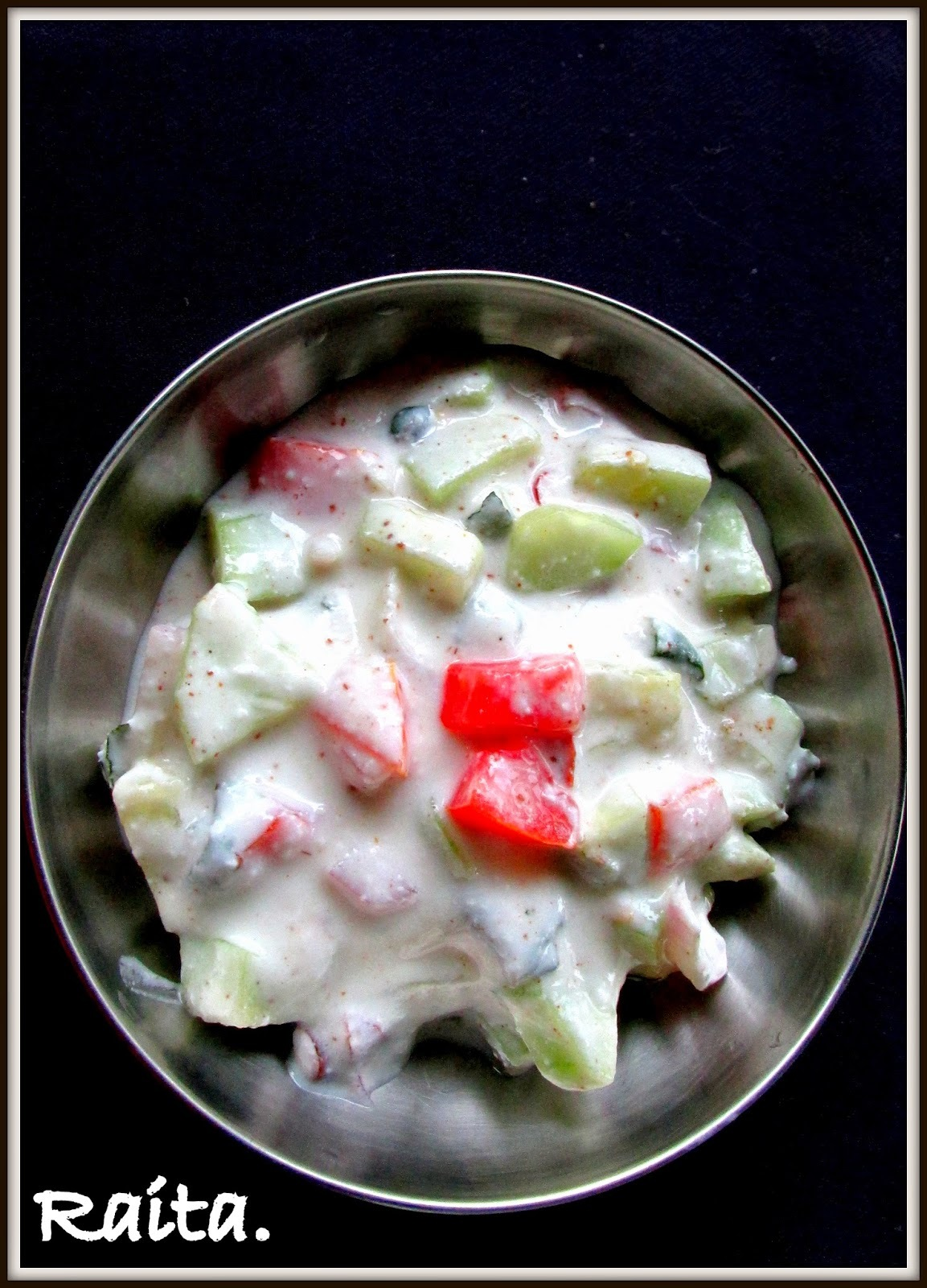 Cucumber Raita with Onion, Tomato and Mint