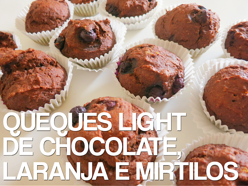 Queques Light de Chocolate, Laranja e Mirtilos