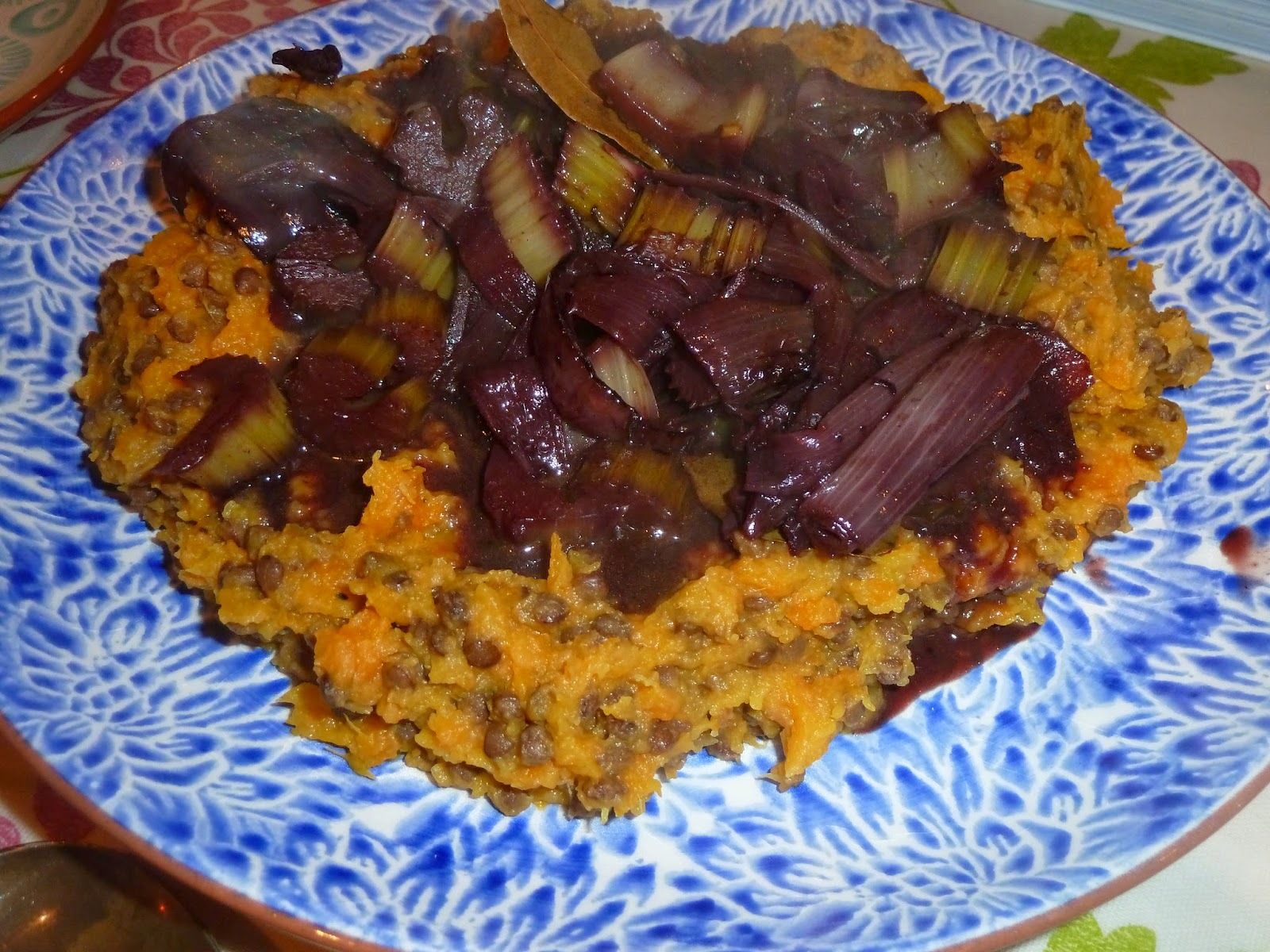 Root veg and squash mash with lentils, shallots braised in red wine
