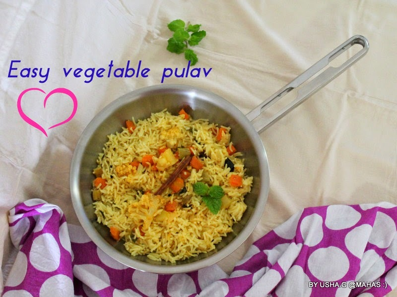 Creamy mixed vegetable pulav without Garam masala/Easy vegetable rice pulav with cream/Healthy Vegetarian pilaf recipes/South Indian Rice recipes/Vegetable pulao in rice cooker with mint/Health benefits of rice and cream/Step by step pictures