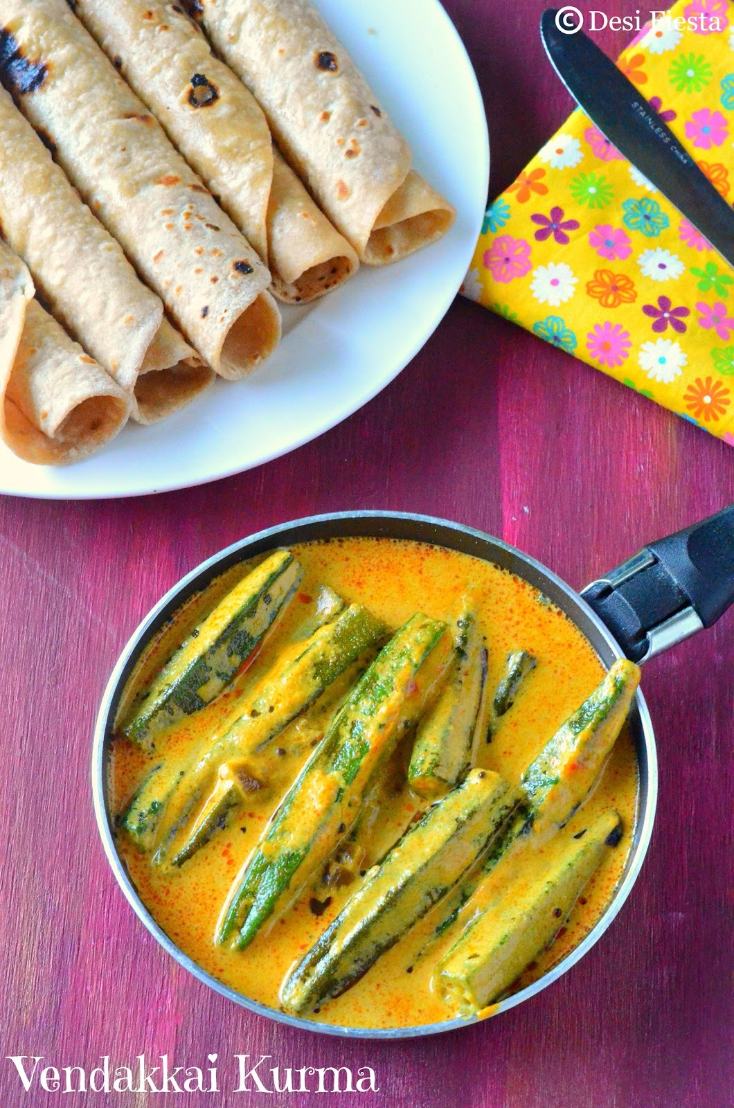 Vendakkai Kurma Recipe | Lady's finger Kurma | Okra in Coconut Curry