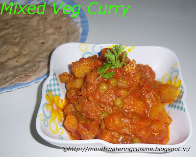 Mixed Vegetable Curry Recipe -- Vegetables Saute with spices