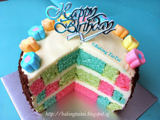 My birthday cake - Tutorial on how to do a dartboard or checkered cake