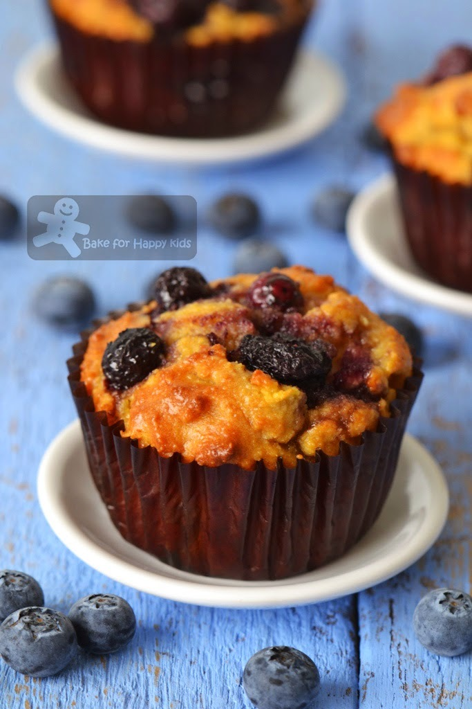 Stir-and-Bake Flourless Almond Blueberry Apple Muffins (Gluten Free, Low Fat and Low Sugar)