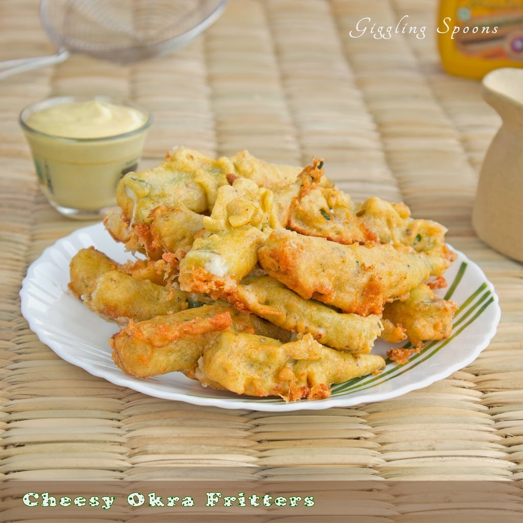 Cheesy Okra Fritters