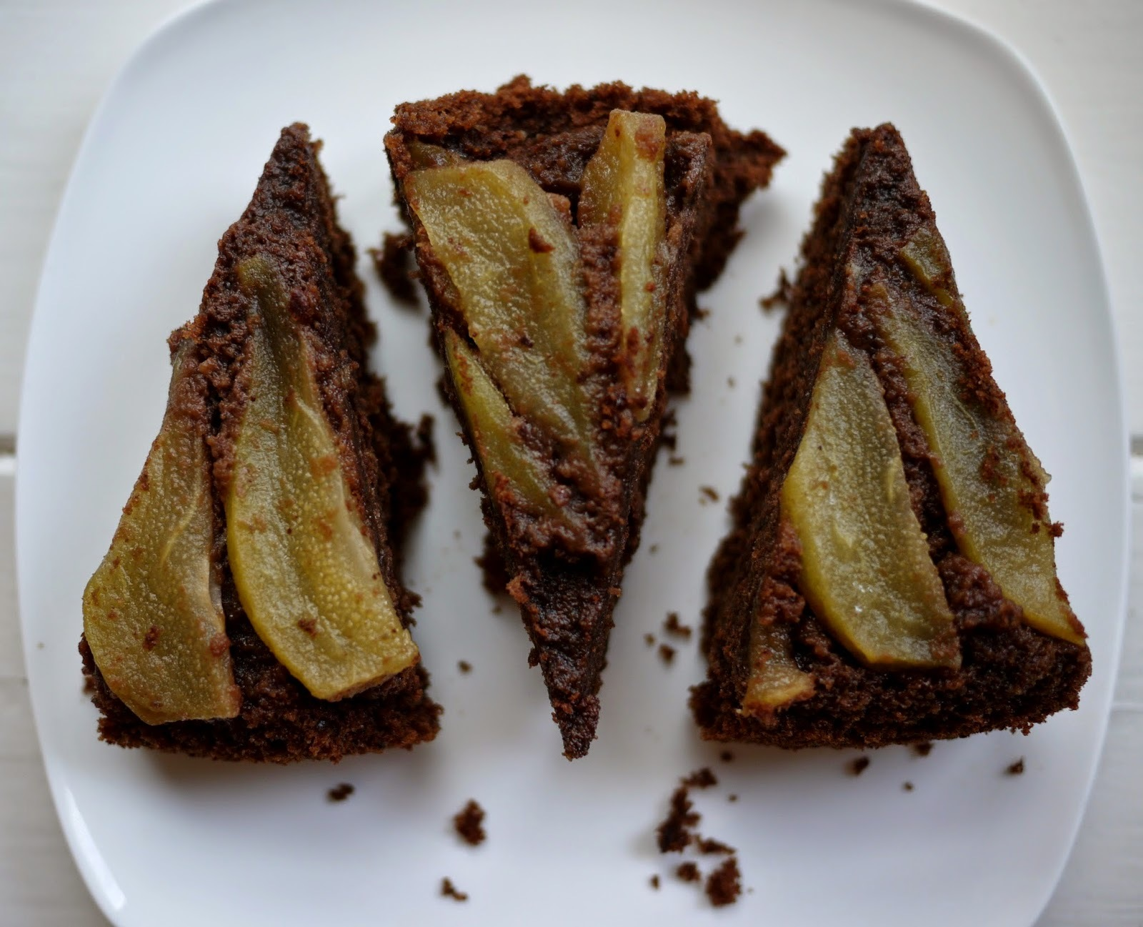 Upside Down Caramelised Pear, Chocolate and Almond Cake (Gluten-Free)