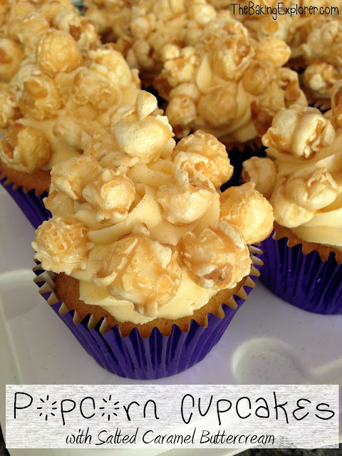 Popcorn Cupcakes with Salted Caramel Buttercream