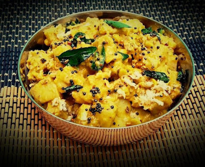 Raw Banana Tangy Curry (Vazhaikai Puli Kootu)