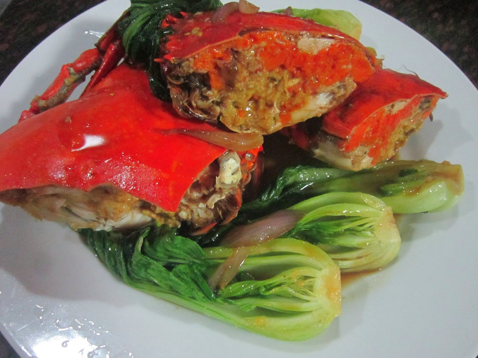 CRABS and BOK CHOY in OYSTER SAUCE