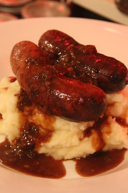 OLD SPOT SAUSAGES WITH CARAMELISED ONION GRAVY