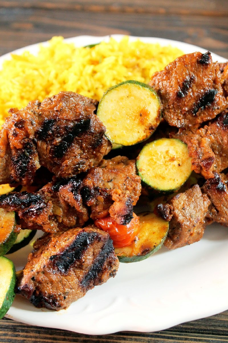 Grilled Korean Bulgogi Steak Kabobs with Yellow Rice Pilaf
