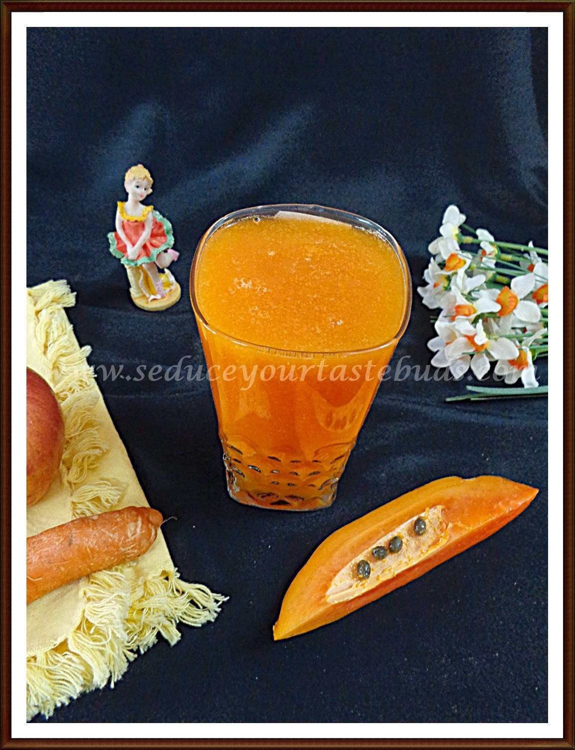Papaya Carrot and Apple Juice