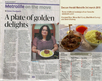 COCONUT RICE, BALL CURRY (BAD WORD CURRY) AND DEVIL CHUTNEY - DECCAN HERALD 3RD MARCH 2015