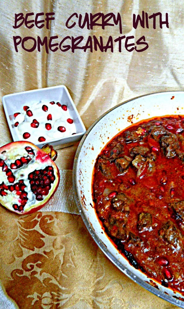Beef curry with pomegranates (#ReadCookEat)