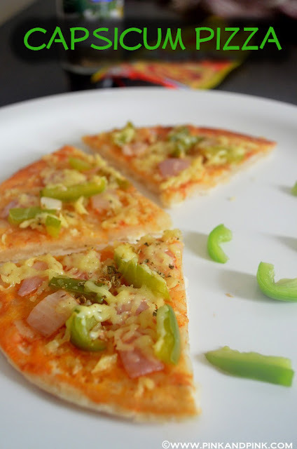 Capsicum Pizza Recipe in Pressure cooker Without Yeast and Oven