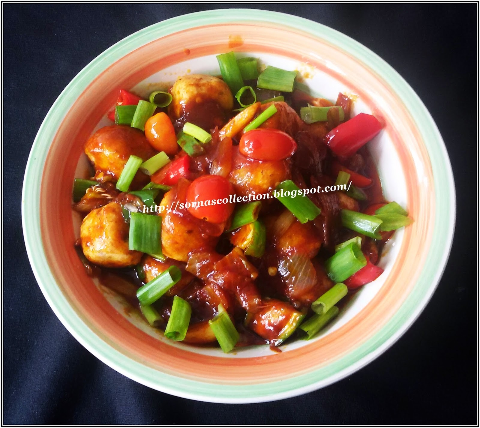 SWEET, SOUR & SPICY VEGETARIAN MEAT BALLS ( SOYA MEAT )