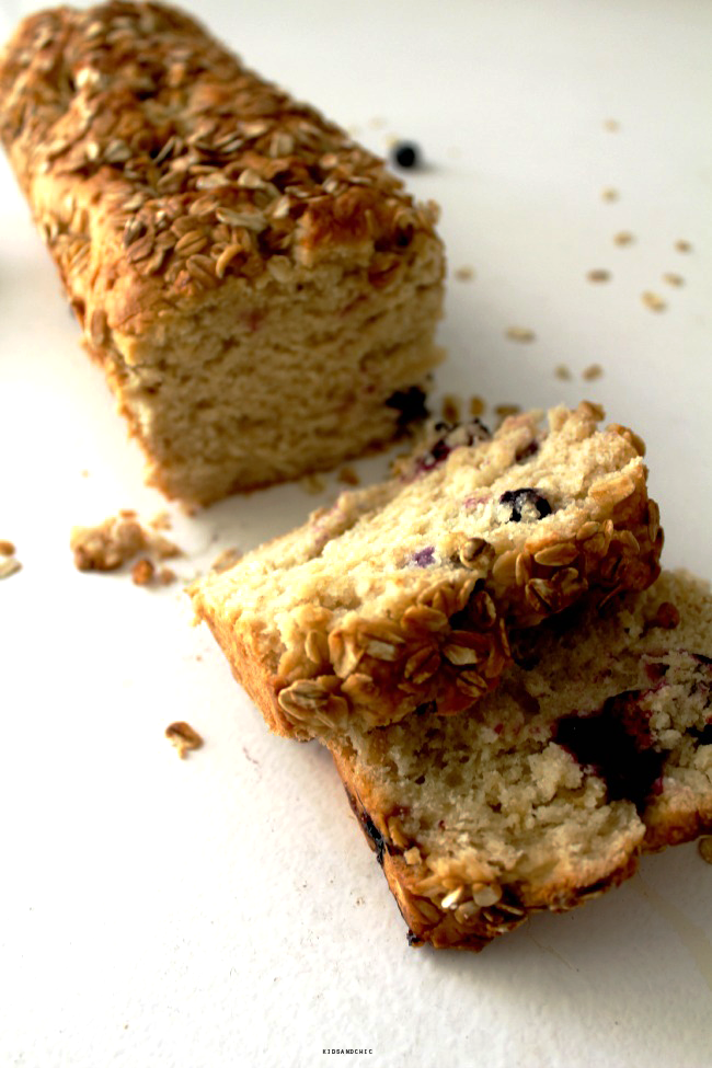 Lemon Blueberry Oat Bread  #BreadBakers