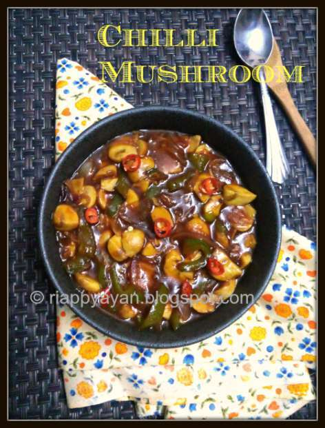 Chilli Mushroom ~ How to make Chilli Mushroom at home