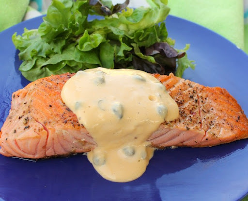 Salmon with Homemade Caper Onion Mayonnaise for #SundaySupper