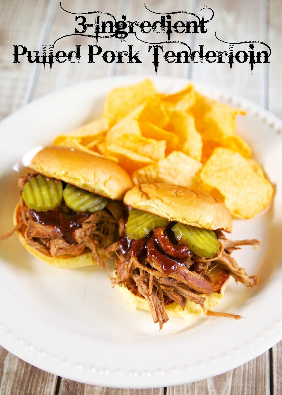 3-Ingredient Pulled Pork Tenderloin {Slow Cooker}