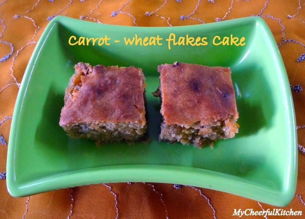 Eggless carrot wheat flakes cake