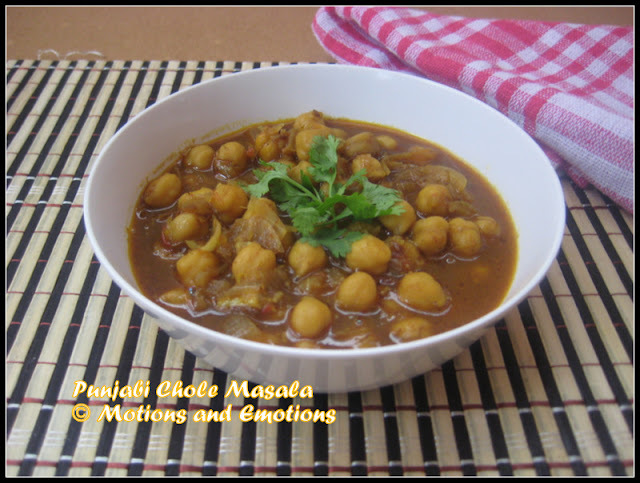 Punjabi Chole Masala/Punjabi Style Chickpea Preparation