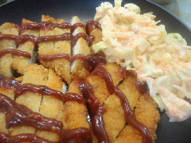 Chicken Katsu with spiced Katsu Sauce paired with Apple-Cabbage Slaw!