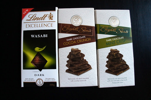 Lindt Excellence dark chocolate with wasabi, Elizabeth Shaw cocoa crunch dark chocolate and mint crisp dark chocolate, and an advent calendar
