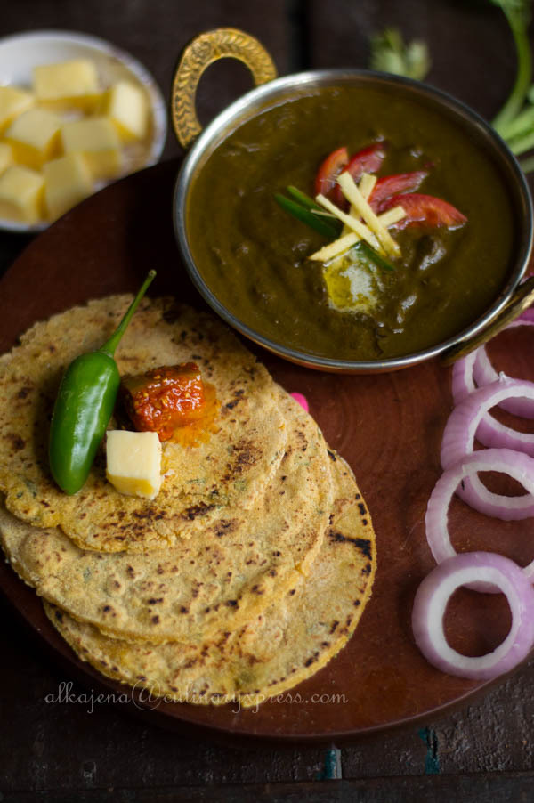 Sarson Da Saag and Makki Di Roti (Tempered Mustard Greens with Cornmeal Flat Bread)