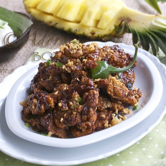 CRISPY PORK BINAGOONGAN (CRISPY PORK WITH SHRIMP PASTE GLAZE)