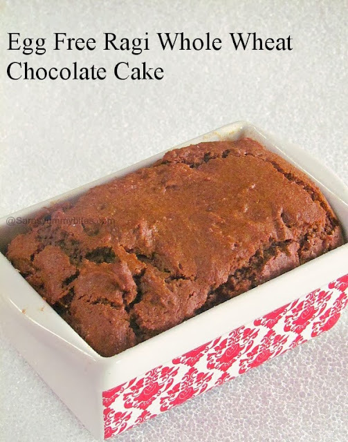 Egg Free Ragi Whole Wheat Chocolate Cake / Finger millet Whole Wheat chocolaty cake
