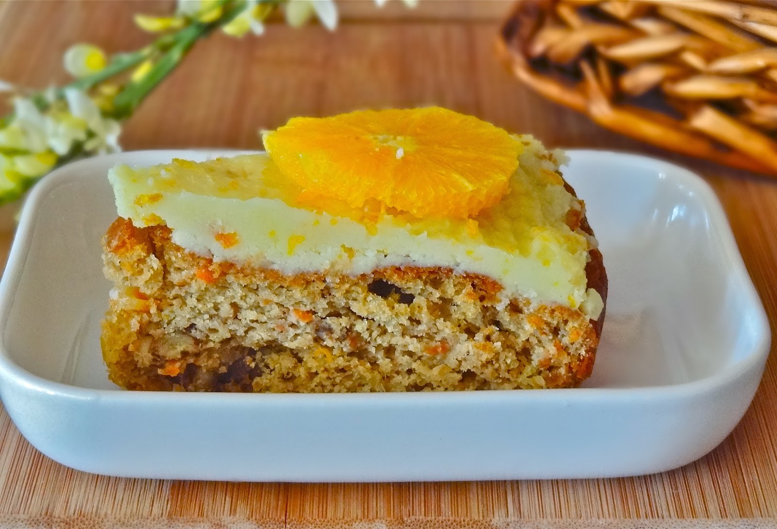 Mango carrot cake with orange butter frosting