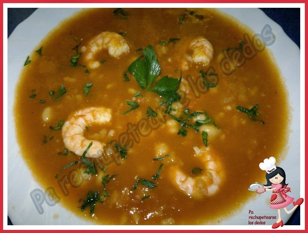 * Garbanzos con arroz y gambas (thermomix)